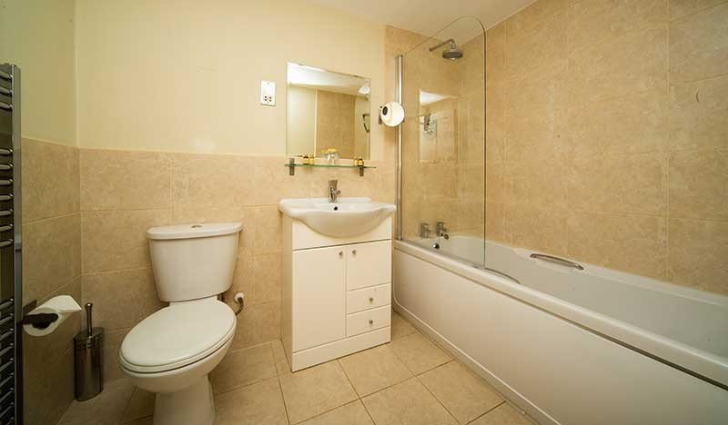 Room 1 Bathroom - A photo of the Bathroom showing a white toilet, white washbasin with a cabinet underneath and a large modern white tub